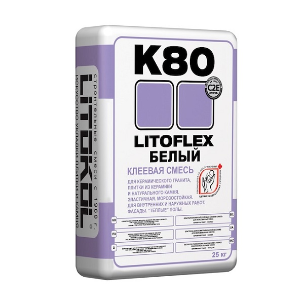 Клей для плитки и керамогранита Litokol Litoflex K 80 белый 25 кг