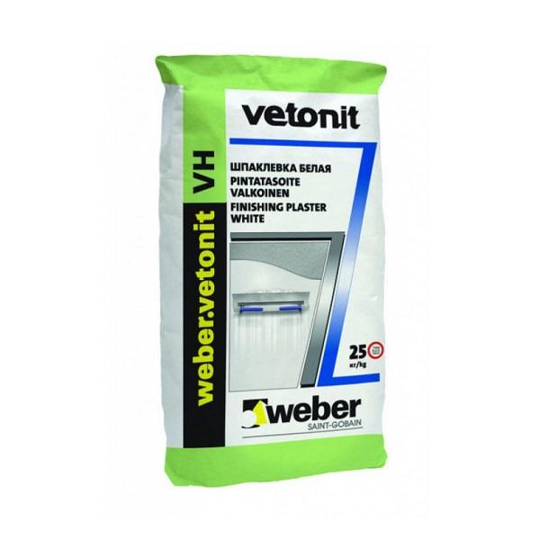 Шпаклевка финишная цементная  влагостойкая белая Weber Vetonit VH  20 кг