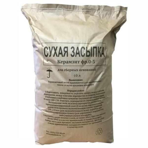 Сухая засыпка Керамзит 0-5 мм 40 л